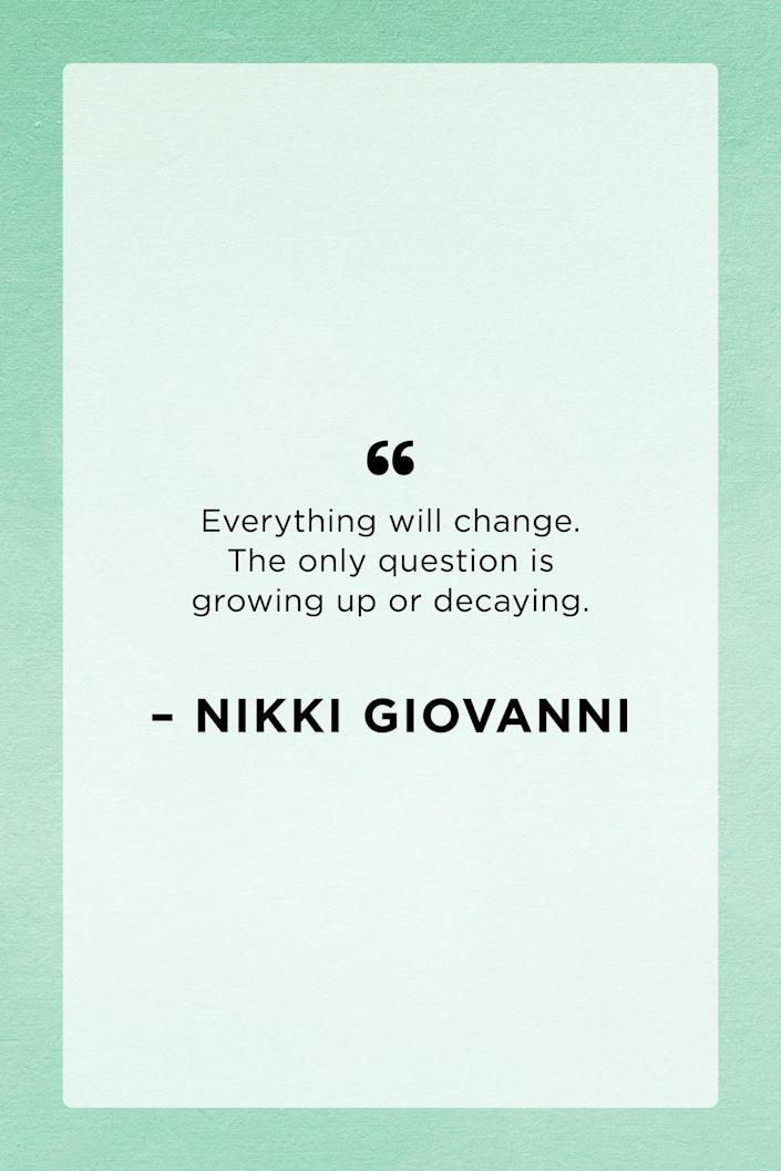 <p>Nikki Giovanni was an American poet and activist who constantly wrote about and inspired change.</p>