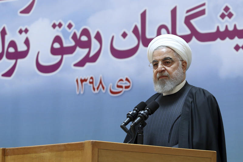 In this photo released by official website of the Office of the Iranian Presidency, President Hassan Rouhani speaks in a meeting in Tehran, Iran, Tuesday, Jan. 14, 2020. Iran's president said on Tuesday a special court should be formed to probe the downing of a Ukrainian passenger jet that was mistakenly targeted by Iranian forces just after takeoff from Tehran, killing all 176 people aboard. (Iranian Presidency Office via AP)