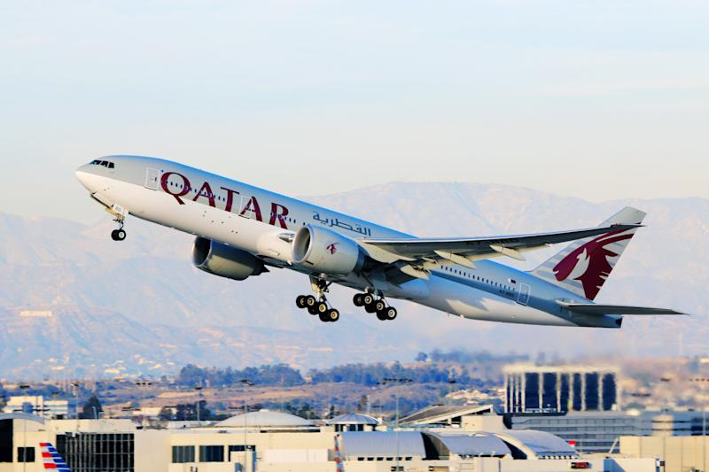 Los Angeles, CA, USA - Jan 02, 2016: Qatar Airways Boeing 777-200LR (Registration No. A7-BBD) taking off at Los Angeles International Airport.