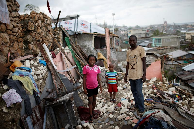 """The Haiti home of Prenille Nordand his children was destroyed by Hurricane Matthew on Oct. 17. """"I have nothing left. Now we are homeless and I'm currently living in a shelter with my family,"""" Nord said. Despite the destruction and cholera on the island, the Trump administration plans to send many Haitians in the U.S. back by July 2019."""