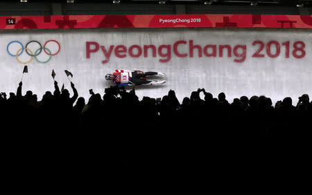 Luge – Pyeongchang 2018 Winter Olympics – Men's Singles Competition – Olympic Sliding Centre - Pyeongchang, South Korea – February 11, 2018 - Chris Mazdzer of the U.S in action. REUTERS/Edgar Su