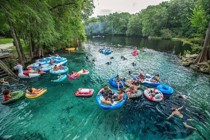 The crowd enjoys Devil's Eye Spring at Ginnie Springs Outdoors in 2017.
