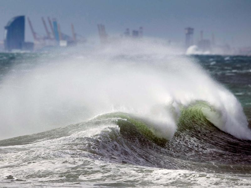Waves caused by Storm Gloria crash in Barcelona: EPA