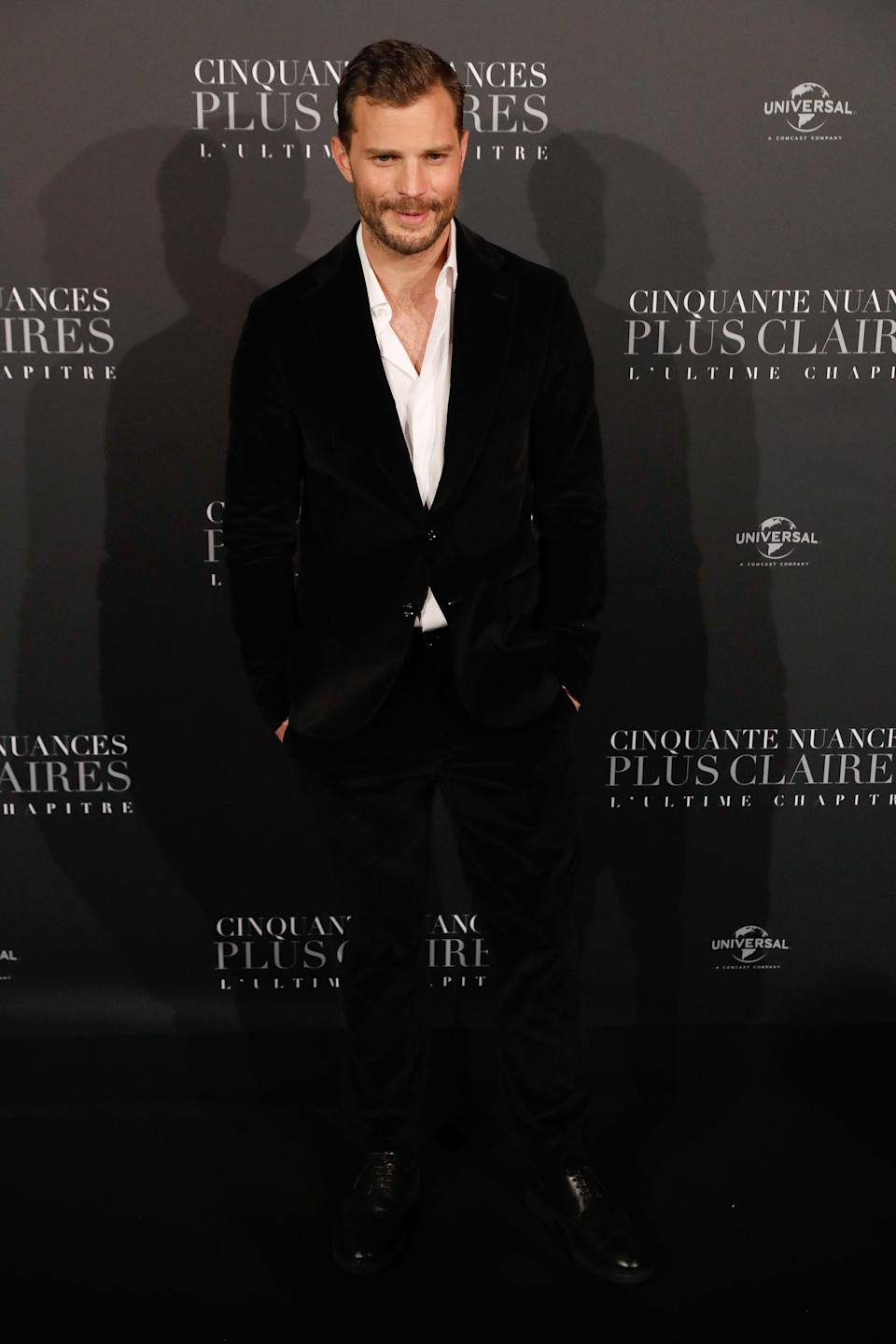 <p>The actor went sans tie in a black velvet suit by Tod's. <em>[Photo: Getty]</em> </p>
