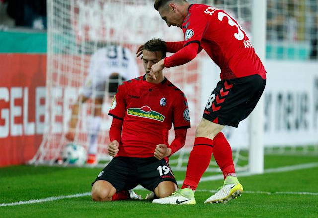 Soccer Football - DFB Cup Second Round - SC Freiburg v Dynamo Dresden - Dreisamstadion, Freiburg, Germany - October 25, 2017 SC Freiburg's Janik Haberer celebrates scoring their third goal REUTERS/Ralph Orlowski DFB RULES PROHIBIT USE IN MMS SERVICES VIA HANDHELD DEVICES UNTIL TWO HOURS AFTER A MATCH AND ANY USAGE ON INTERNET OR ONLINE MEDIA SIMULATING VIDEO FOOTAGE DURING THE MATCH.