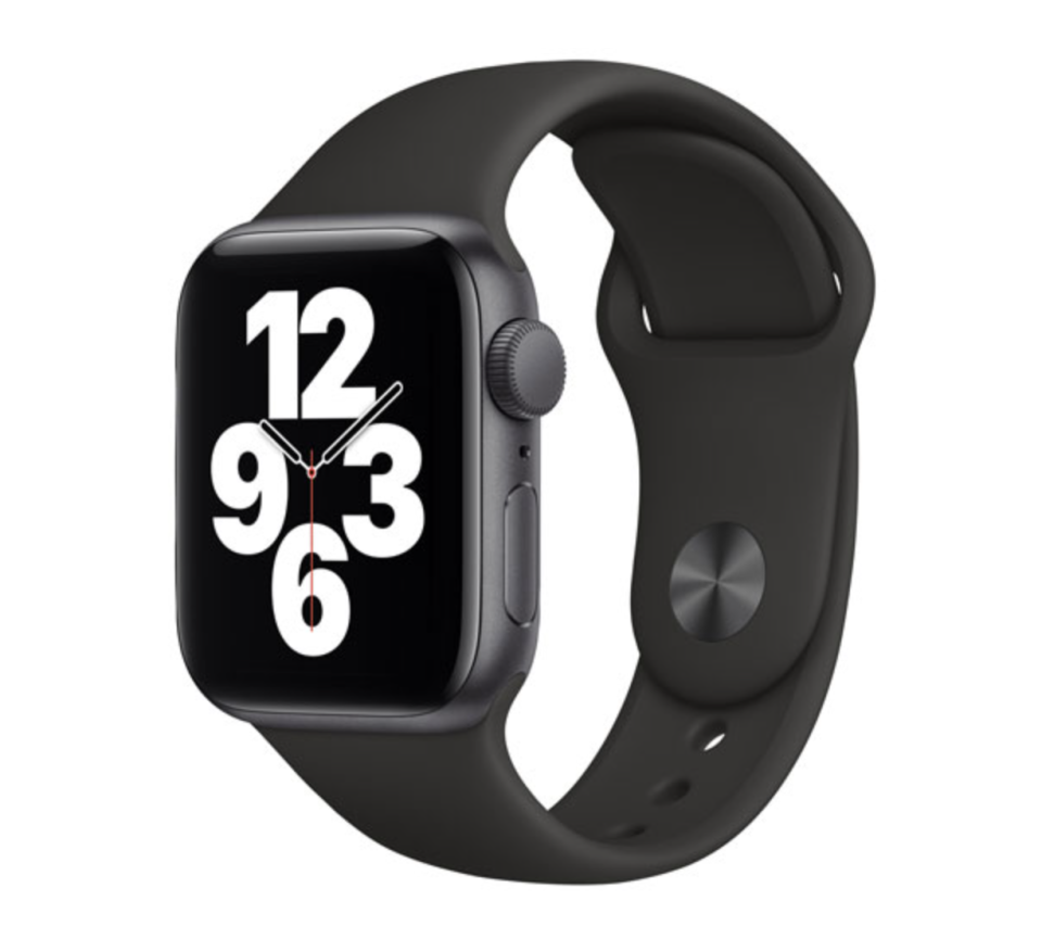 black apple watch with numbers on face on white background