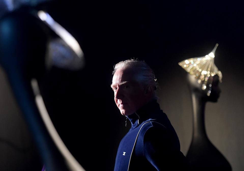 "Famous Irish milliner, fashion designer and the world's only haute couture expert Philip Treacy attends the presentation of the exhibition ""Maestro Philip Treacy"""