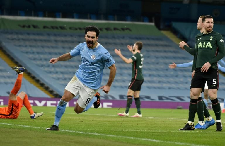 Ilkay Gundogan (centre) scored twice as Manchester City beat Tottenham 3-0