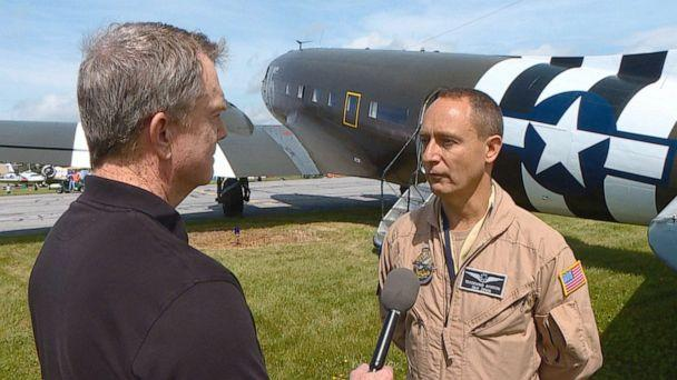 PHOTO: ABC News Senior Transportation Correspondent David Kerley interviews C-47 pilot Eric Zipkin in Maryland ahead of the commemoration of the 75th anniversary of D-Day in Normandy. (ABC News)