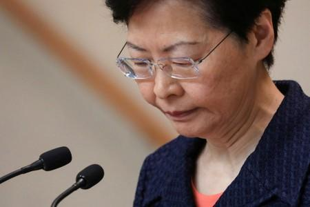 FILE PHOTO: Hong Kong's Chief Executive Carrie Lam holds a news conference in Hong Kong