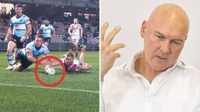 St George Illawarra coach Paul McGregor was left fuming by the botched Bunker call that went against the Dragons during last weekend's loss to Cronulla. Pictures: Fox Sports