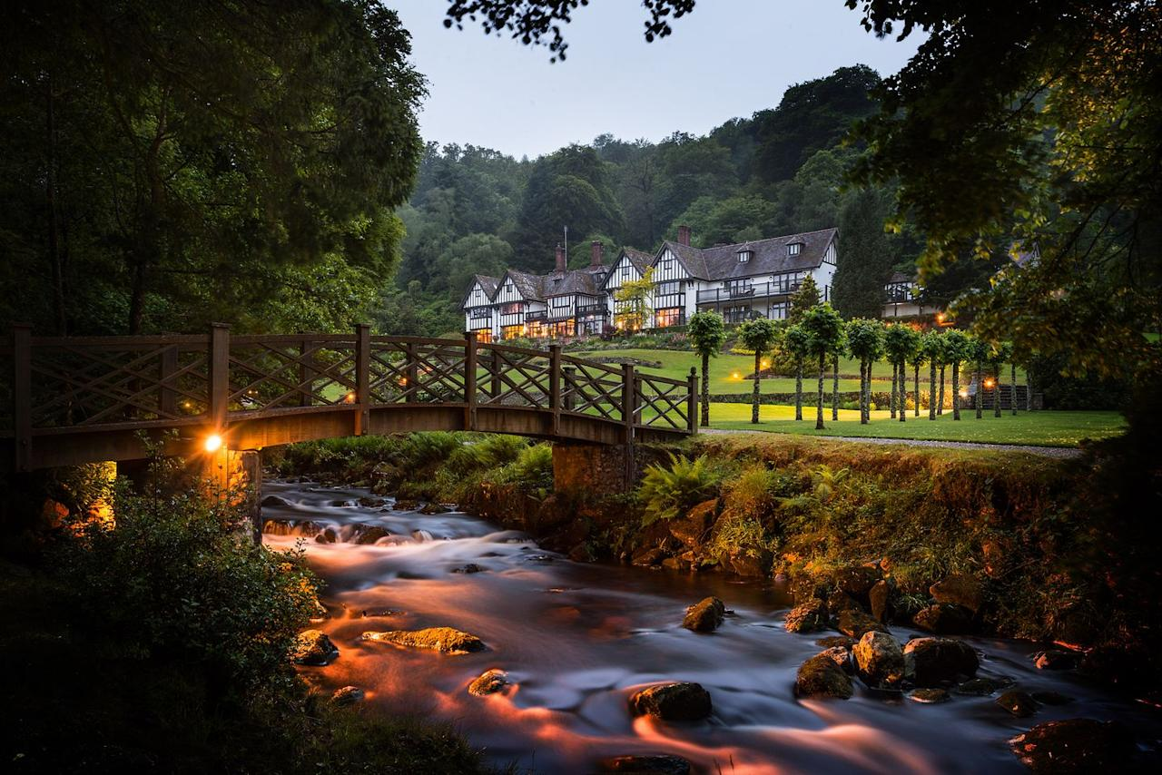 """<p><a class=""""body-btn-link"""" href=""""https://countryliving.tripsmiths.com/offers/devon-gidleigh-park-hotel-restaurant"""" target=""""_blank"""">BOOK NOW</a> <strong>From £325 for two-night dinner and stay package</strong></p><p>Set on the bubbling upper reaches of the River Teign, this hotel offers tranquillity and romance within a Tudor-style country house on the edge of Dartmoor National Park. It boasts all the English charm you'd expect, highly praised fine dining and 107 acres of mature grounds to explore.</p>"""