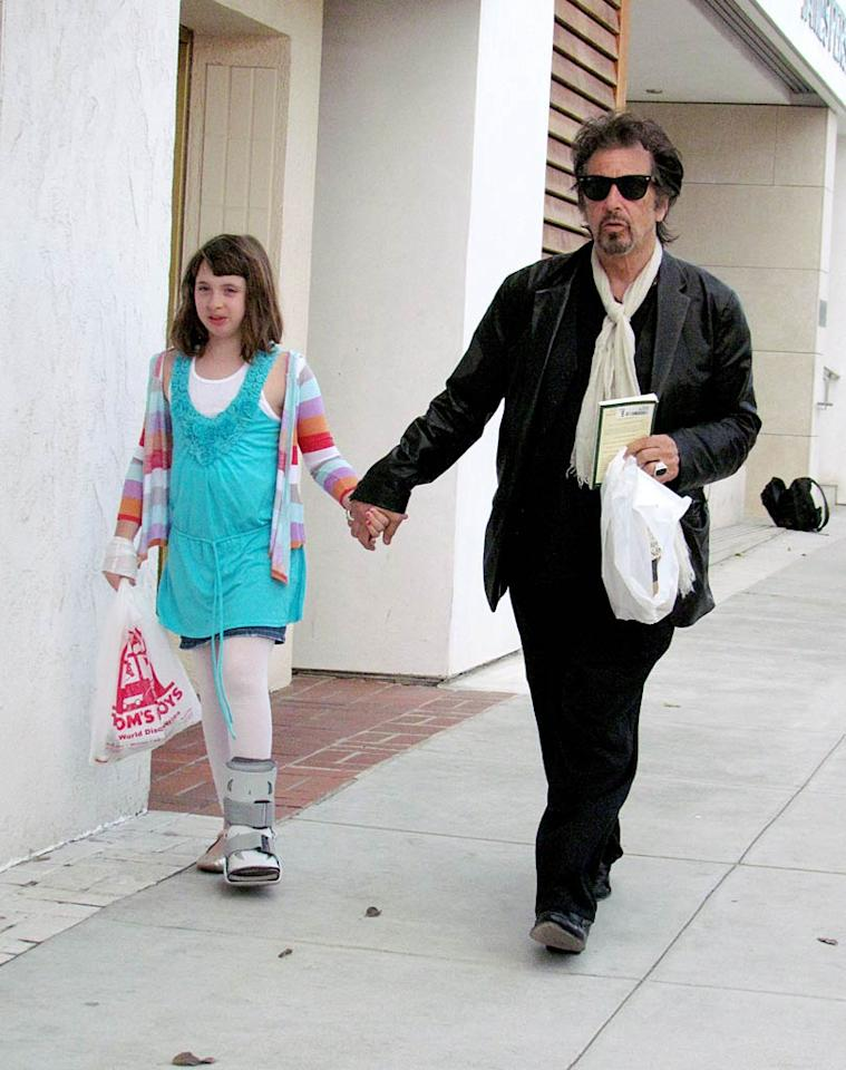 """Al Pacino was snapped in Beverly Hills doting on his 10-year-old daughter Olivia Rose, who was sporting a cast and happens to have a twin brother named Anton James. Beverly D'Angelo is their mom. KAT/<a href=""""http://www.infdaily.com"""" target=""""new"""">INFDaily.com</a> - April 5, 2011"""