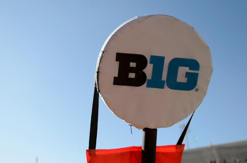The Big Ten logo on a yard marker at Memorial Stadium during a game between Maryland and Indiana on Nov. 10, 2018 in Bloomington, Indiana. (G Fiume/Maryland Terrapins/Getty Images)