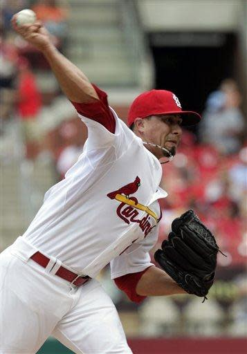 St. Louis Cardinals starting pitcher Kyle Lohse delivers in the first inning of a baseball game against the Miami Marlins, Saturday, July 7, 2012, in St. Louis. (AP Photo/Tom Gannam)