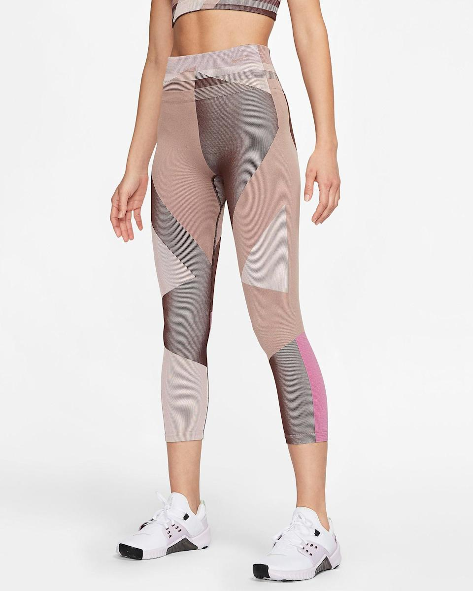 """<br><br><strong>Nike</strong> Sculpt Icon Clash Seamless 7/8 Training Tights, $, available at <a href=""""https://go.skimresources.com/?id=30283X879131&url=https%3A%2F%2Fwww.nike.com%2Ft%2Fsculpt-icon-clash-womens-seamless-7-8-training-tights-5kwtR9%2FCJ4135-283"""" rel=""""nofollow noopener"""" target=""""_blank"""" data-ylk=""""slk:Nike"""" class=""""link rapid-noclick-resp"""">Nike</a>"""