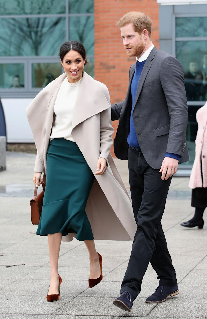 """The Duchess has a habit of sporting Canadian designers, and after wearing this Mackage coat, the brand's website traffic increased <a href=""""https://www.huffingtonpost.ca/2017/12/01/meghan-markle-wears-coat-by-montreal-s-mackage-at-event-with-prince-harry_n_18718150.html"""" target=""""_blank"""" rel=""""noopener noreferrer"""">by 500 per cent</a>."""