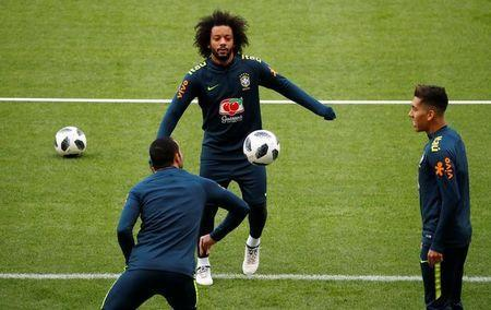 Soccer Football - Brazil Training - Olympiastadion, Berlin, Germany - March 26, 2018 Brazil's Marcelo during training REUTERS/Fabrizio Bensch