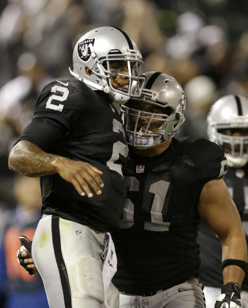 Oakland Raiders quarterback Terrelle Pryor (2) celebrates with center Stefen Wisniewski (61) after scoring on a 25-yard touchdown run against the Chicago Bears during the third quarter of an NFL preseason football game in Oakland, Calif., Friday, Aug. 23, 2013. (AP Photo/Marcio Jose Sanchez)