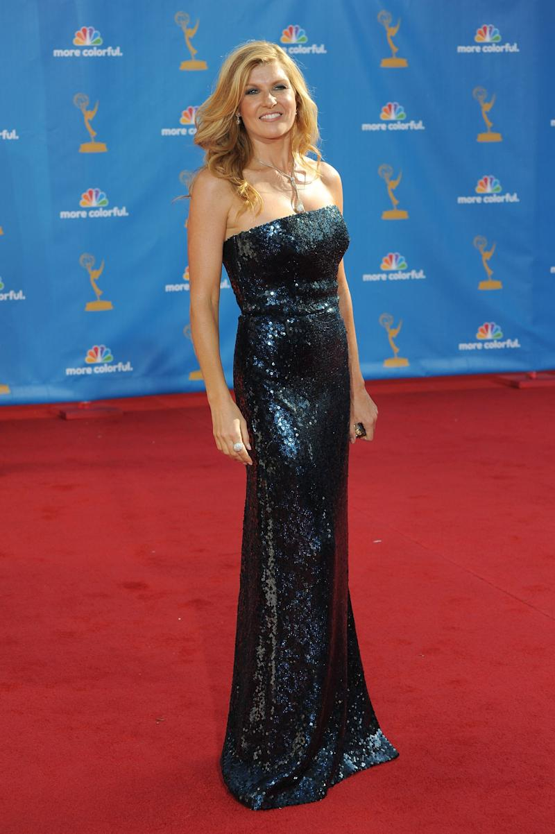 Connie Britton, in a sequined Burberry number, arrives at the 62nd Annual Primetime Emmy Awards held at the Nokia Theatre L.A. Live on August 29, 2010 in Los Angeles, California.