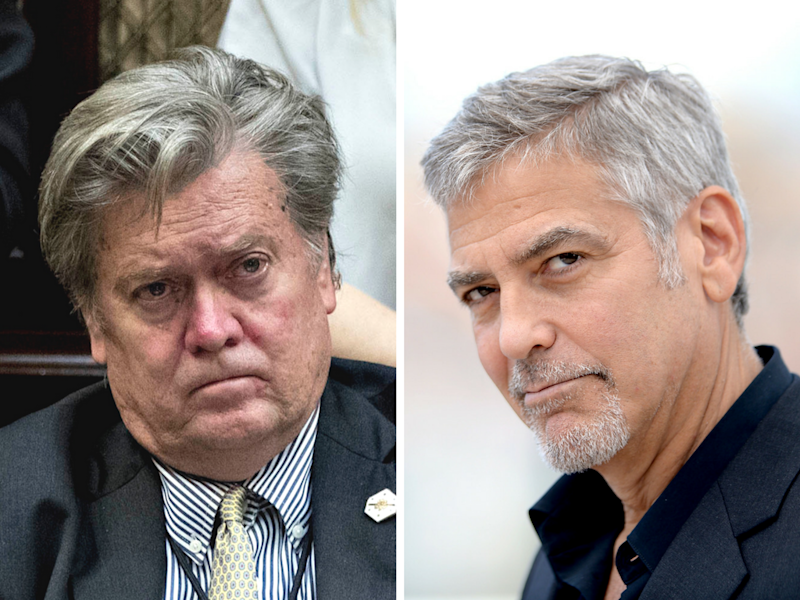 """Steve Bannon """"would still be in Hollywood making movies and kissing my ass,"""" if he could, said George Clooney. (Getty)"""