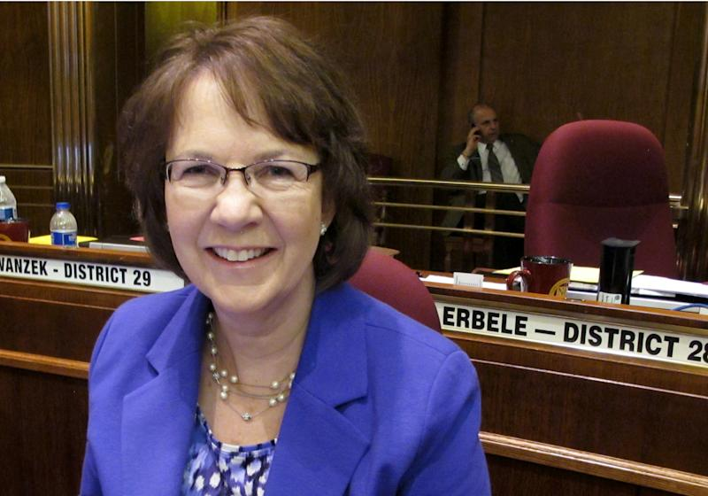 RETRANSMISSION TO CORRECT FROM BILL TO RESOLUTION - North Dakota Republican Sen. Margaret Sitte poses for a picture at the state Capitol in Bismarck, N.D., on Friday, March 22, 2013. The Bismarck Republican is the primary sponsor of a resolution that the North Dakota Legislature passed Friday that would essentially ban abortion by defining human life as beginning at conception. The resolutionl is one of a series of measures North Dakota lawmakers have passed this year, chipping away at abortion rights. (AP Photo/James MacPherson)