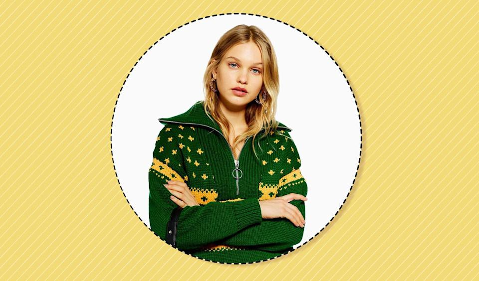 """""""Ugly"""" Christmas sweaters can actually be cute. (Yahoo Lifestyle photo-illustration; photo: Topshop)"""