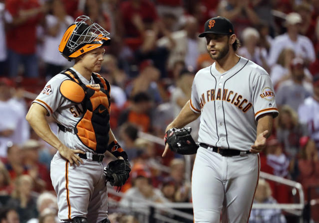 Will Madison Bumgarner (right) be back with the San Francisco Giants in 2019? (AP Photo/Jeff Roberson)