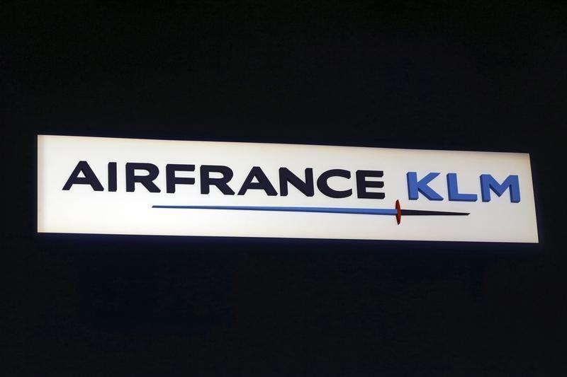 Air France-KLM logo at the presentation of the company's 2012 annual result in Pari