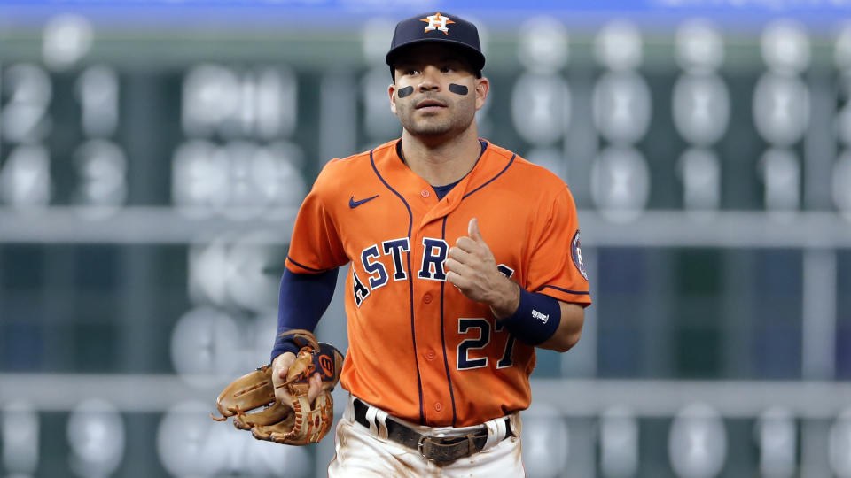 Houston Astros second baseman Jose Altuve (27) during a baseball game against the New York Yankees Friday, July 9, 2021, in Houston. (AP Photo/Michael Wyke)