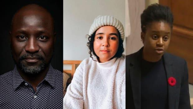 (From left) Bertrand Bickersteth, Kyla Pascal and Uzoma Asagwara were among the panelists at a CBC Asks event as part of the Black on the Prairies project. (Submitted - image credit)