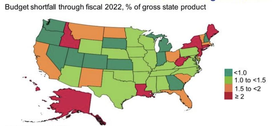 Pain from coronavirus-related budget shortfalls will be felt by states nationwide, red as well as blue.