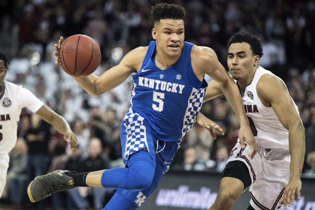 Former Kentucky forward Kevin Knox is considered a likely lottery pick in Thursday's 2018 NBA draft. (AP)