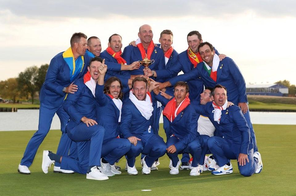 Europe celebrate winning the Ryder Cup at Le Golf National, Paris (David Davies/PA) (PA Archive)