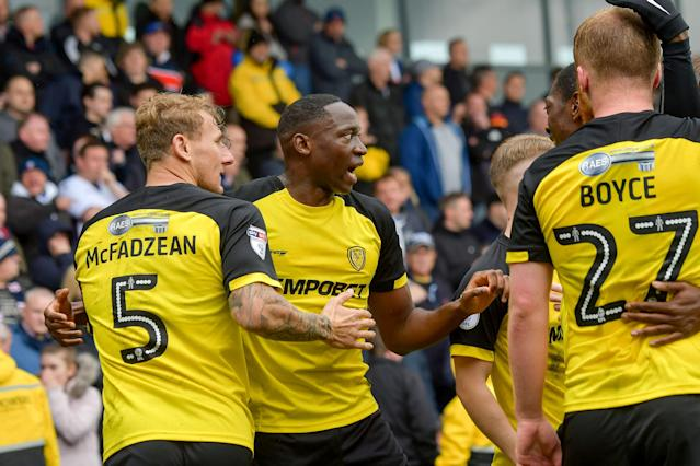 "Soccer Football - Championship - Burton Albion vs Bolton Wanderers - Pirelli Stadium, Burton, Britain - April 28, 2018 Burton AlbionÕs Lucas Akins celebrates scoring their second goal Action Images/Paul Burrows EDITORIAL USE ONLY. No use with unauthorized audio, video, data, fixture lists, club/league logos or ""live"" services. Online in-match use limited to 75 images, no video emulation. No use in betting, games or single club/league/player publications. Please contact your account representative for further details."