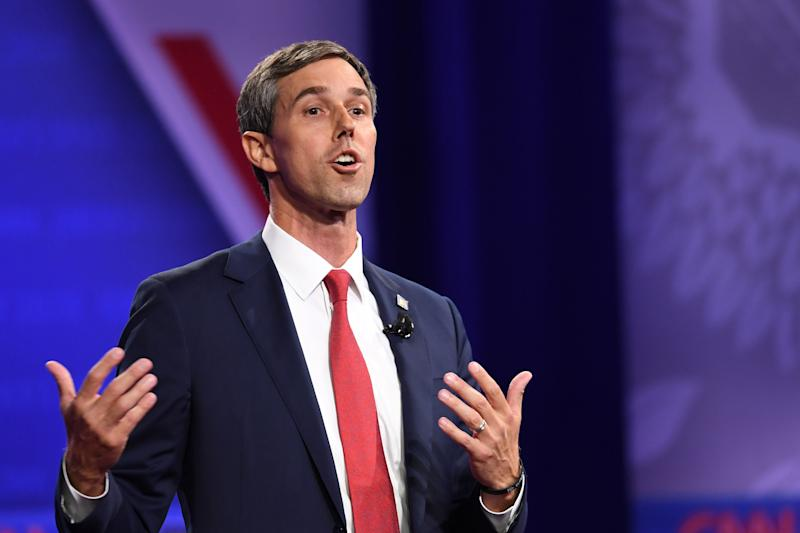 Democratic presidential hopeful former Texas Representative Beto O'Rourke speaks on stage at The Novo in Los Angeles on Oct. 10, 2019. (Photo by Robyn Beck AFP via Getty Images)