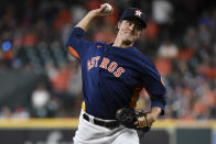 Houston Astros starting pitcher Zack Greinke delivers during the first inning of a baseball game against the Texas Rangers, Sunday, July 25, 2021, in Houston. (AP Photo/Eric Christian Smith)