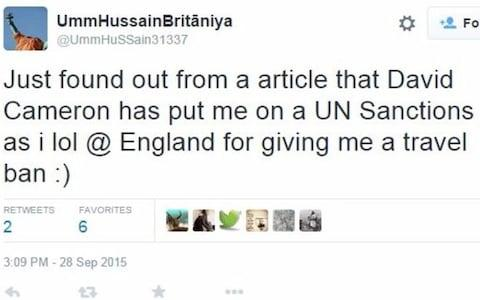 Twitter account believed to belong to Sally Jones tweets about decision to put her on the UN sanctions list - Credit: Twitter
