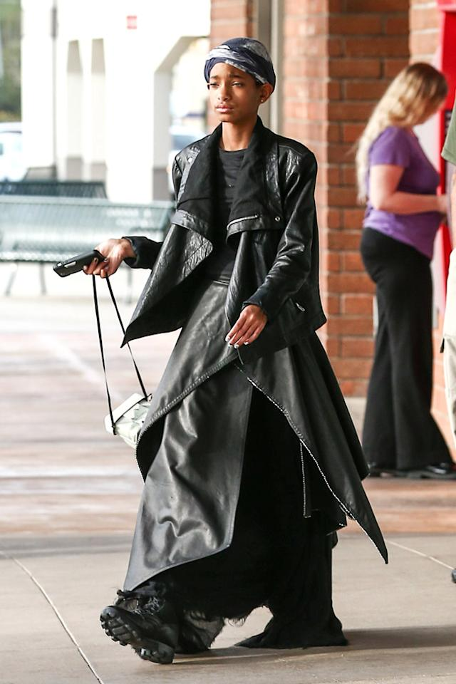 "*EXCLUSIVE* Woodland Hills, CA - Willow Smith appears to be experimenting with a new gothic-inspired style as she steps out of a Woodland Hills camera shop in an all black ensemble that looks straight out of the, ""Matrix"".  The 12-year-old daughter of Will Smith and Jada Pinkett Smith is currently attending a school with strong Scientology ties.