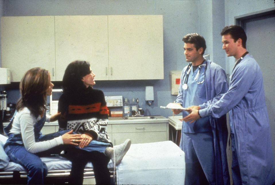 <p>In between shifts on <em>ER</em>, George Clooney and Noah Wyle appeared on <em>Friends</em> for two episodes. They served as dates for Rachel Green and Monica Geller, naturally. </p>