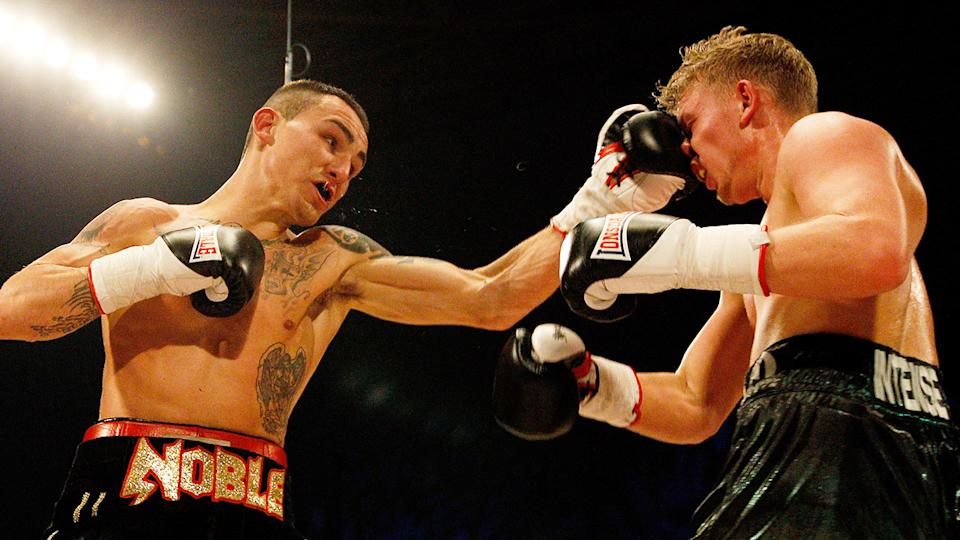 Pictured here, Lee Noble punches Phill Fury during their fight in Sheffield in 2012.