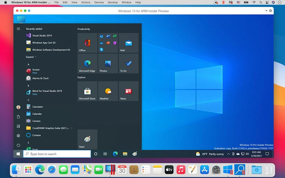 Windows 10 for ARM Insider Preview running in Parallels Desktop 16.5 on an M1 MacBook Pro
