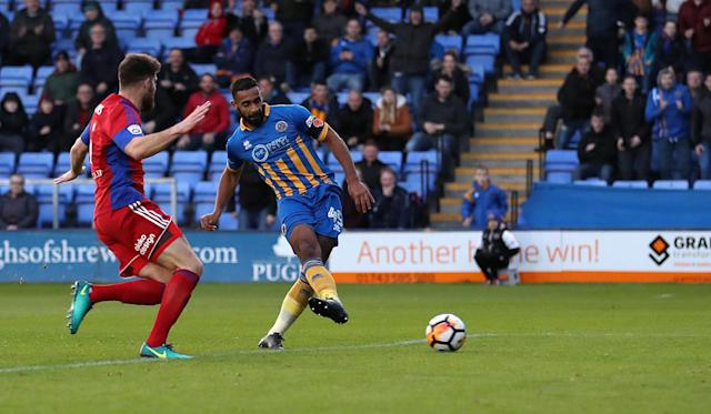 Soccer Football - FA Cup First Round - Shrewsbury Town vs Aldershot Town - New Meadow, Shrewsbury, Britain - November 4, 2017 Shrewsbury TownÕs Stefan Payne scores their third goal Action Images/John Clifton