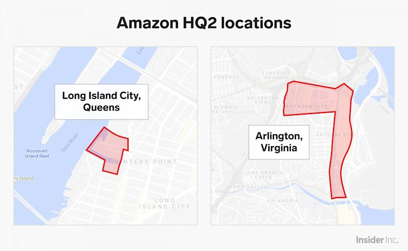 amazon hq2 lic queens arlington virginia locations graphic