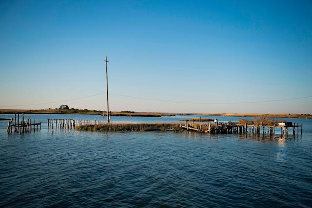 <p>Supports jet out of the water where crab shanties used to stand on a patch of land now surrounded by water in Tangier, Virginia, May 15, 2017, where climate change and rising sea levels threaten the inhabitants of the slowly sinking island.<br> (Jim Watson/AFP/Getty Images) </p>