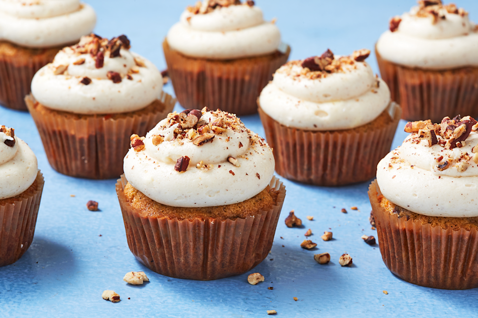 """<p>Come for the carrot cake. Stay for the cream cheese frosting.</p><p>Get the recipe from <a href=""""https://www.delish.com/cooking/recipe-ideas/recipes/a43390/carrot-cake-cupcakes-recipe/"""" rel=""""nofollow noopener"""" target=""""_blank"""" data-ylk=""""slk:Delish"""" class=""""link rapid-noclick-resp"""">Delish</a>.</p>"""