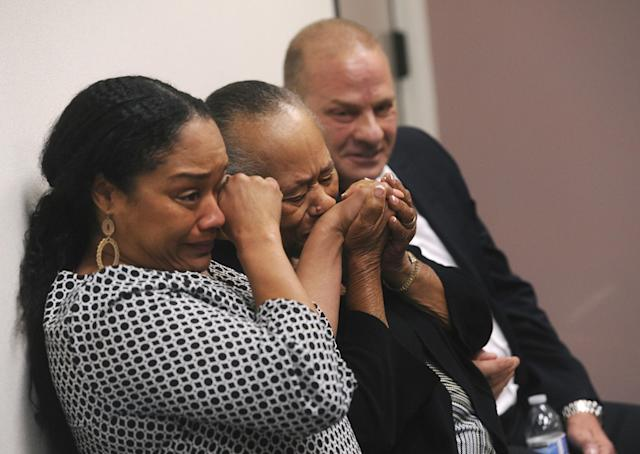 <p>O.J. Simpson's sister Shirley Baker, middle, daughter Arielle Simpson, left, and friend Tom Scotto react after O.J. Simpson was granted parole at Lovelock Correctional Center in Lovelock, Nev., on Thursday, July 20, 2017. Simpson was convicted in 2008 of enlisting some men he barely knew, including two who had guns, to retrieve from two sports collectibles sellers some items that Simpson said were stolen from him a decade earlier. (Jason Bean/The Reno Gazette-Journal via AP, Pool) </p>