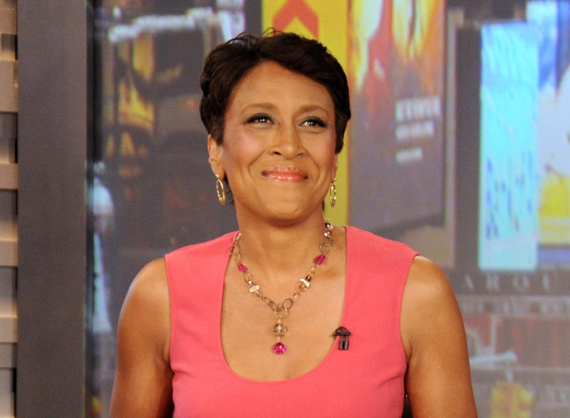 "FILE - This Aug. 20, 2012 file photo released by ABC shows co-host Robin Roberts during a broadcast of ""Good Morning America,"" in New York. Roberts has come home from the hospital three weeks after undergoing a bone marrow transplant. After thanking her doctors and nurses and singing ""Amen,"" the ""Good Morning America"" host began the next stage of recovery from MDS, a blood and bone marrow disease. Her sister was the donor for her bone marrow. (AP Photo/ABC, Donna Svennevik, file)"