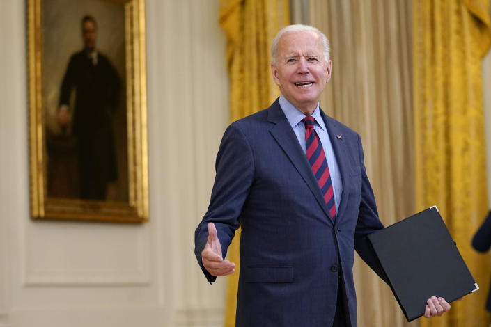 President Joe Biden turns back to answer a question after speaking about the coronavirus pandemic in the East Room of the White House in Washington, Tuesday, Aug. 3, 2021. The U.S. has donated and shipped more than 110 million doses of COVID-19 vaccines to more than 60 countries, ranging from Afghanistan to Zambia, the White House announced Tuesday. (AP Photo/Susan Walsh)