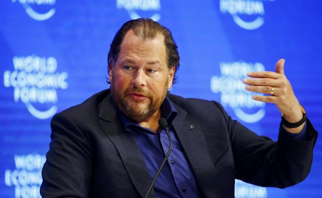 <p>No. 1 (tie) Salesforce CEO Mark Benioff<br>CEO approval rating: 99 per cent<br>(Reuters) </p>